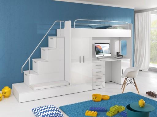 Zestaw Dziecięcy łóżko Piętrowe Szafa Kolory Biały 7341846014