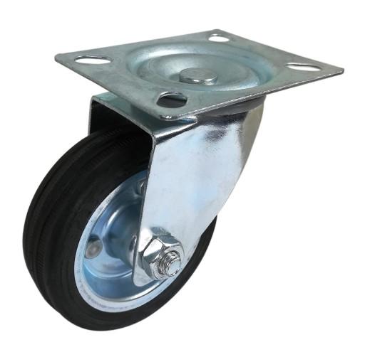 Zestaw kołowy skrętny guma 125mm nośność 100 kg