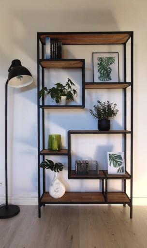 Regał Loft Nowoczesny Design Półki Naturalny Dąb