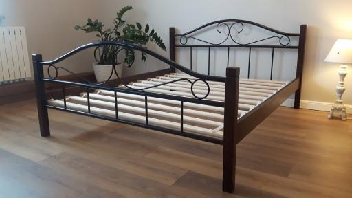 łóżko Metalowe Agata 140x200 Orzech Olcha Dąb
