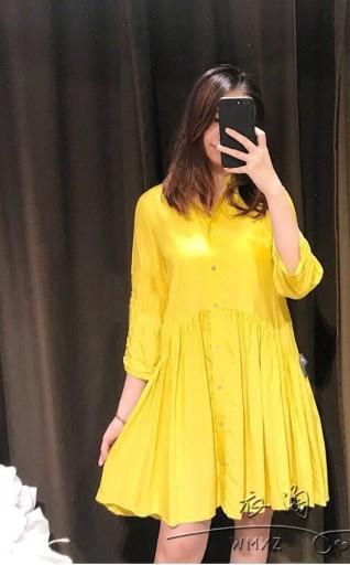 ZARA żółta koszulowa sukienka mini M