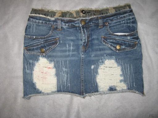 jeansowa spódniczka z przetarciami Fishbone S
