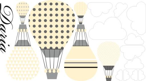 Naklejki balony niebo pastelowe imię chmurki żółte