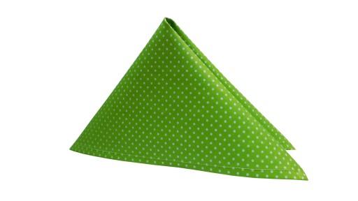 Zielona poszetka do marynarki wzór białe kropki
