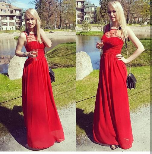Czerwona Długa Sukienka Perełki Wesele Druhny Xl 7355455894