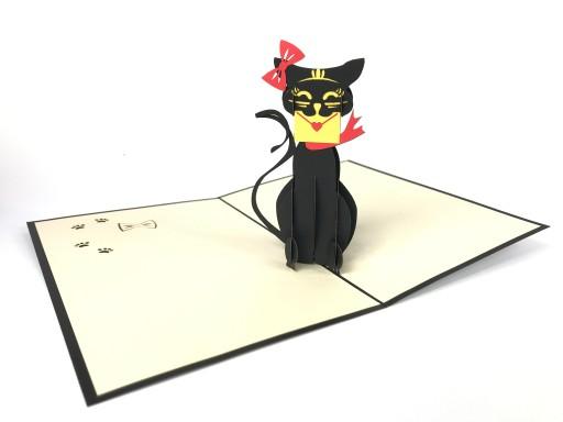 Kot Wręczający Miłosny List, Kartka 3d, Walentynki