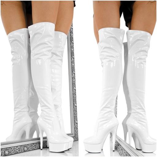 8f10f53b35798 Erotyczne Białe Wysokie Kozaki Sexy Lakierowane 41 7657423956 - Allegro.pl  - Więcej niż aukcje.