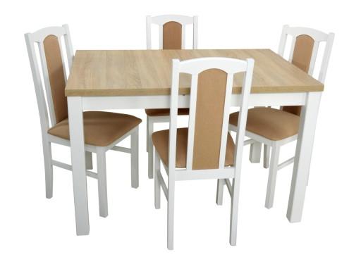 Biały Stół I 4 Krzesła Do Kuchni Blat Sonoma