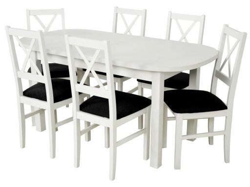 Zestaw Stół Kuchenny Rozkładany 200cm 6 Krzeseł