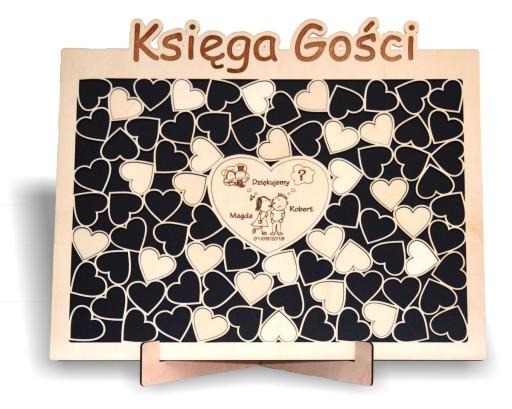 Drewniana Duza Ksiega Gosci Na Slub Wesele 80 Serc 7394772589 Allegro Pl