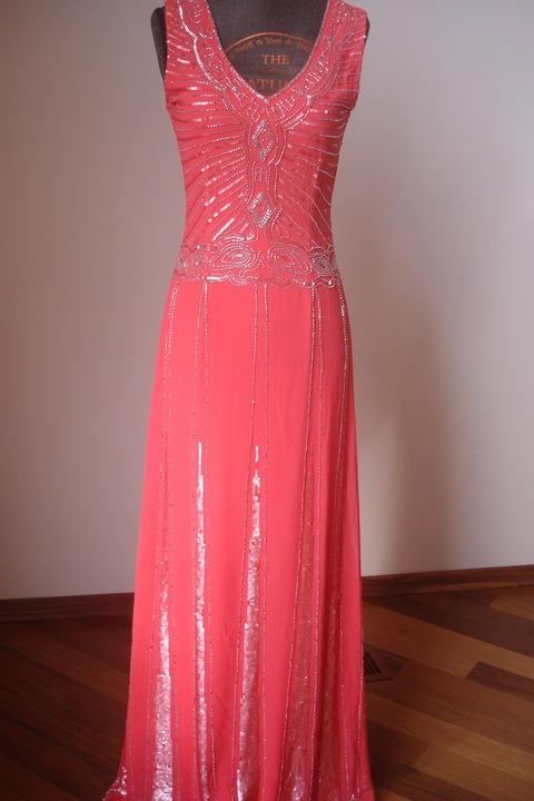 Luksusowa sukienka MAYA 34/36NOWA WESELE na wyższą 8479384035 Odzież Damska Sukienki wieczorowe NE ZUKQNE-8