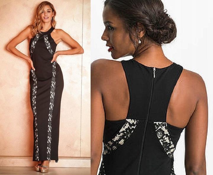 Okazja cenowa_NOWA wizytowa sukienka KORONKA_46/48 9799490898 Odzież Damska Sukienki wieczorowe QX DMSOQX-1