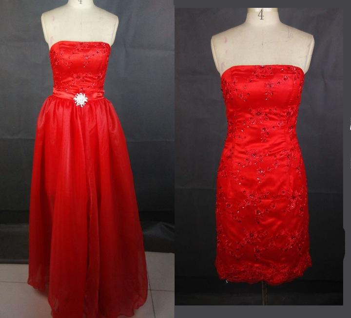 suknia 2w1 sukienka wieczorowa CZERWONA 38 M n JUŻ 7108898226 Odzież Damska Sukienki wieczorowe BT KRQDBT-7