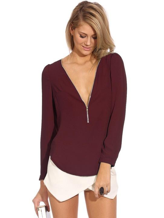 Elegant shirt with a zipper on the neckline in 5 M 9664445561 Odzież Damska Topy HM IHDUHM-8